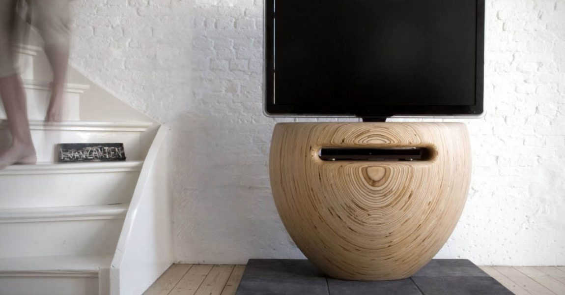 Bloom   TV Stand   birch wood organic shape   by Leon van Zanten
